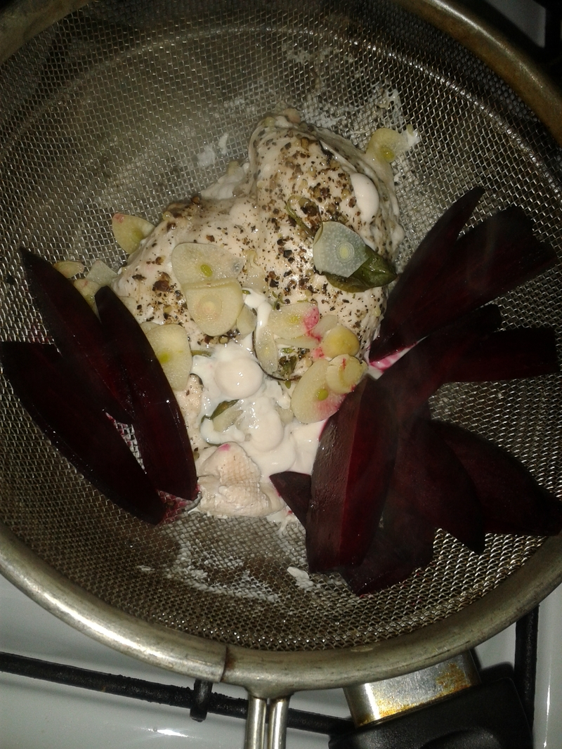 Steamed Chicken and Beet Chips