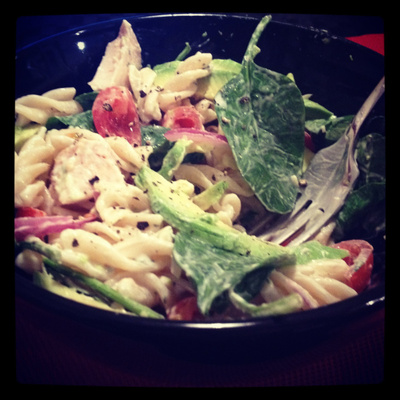 Chicken & avocado pasta salad