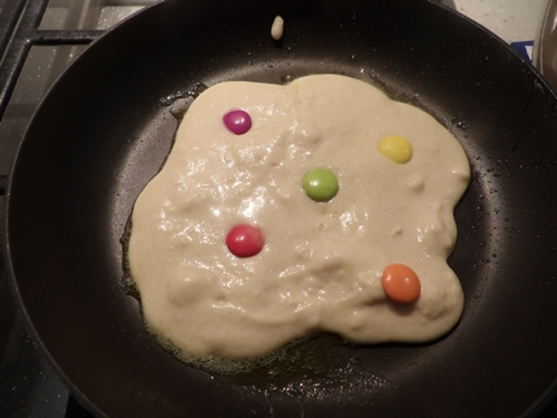 cooking,bacon  - Smarties Pancakes with Bacon, Egg, and Maple Syrup