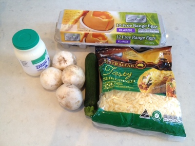 frittata ingredients, fritata ingredients, fritatta ingredients, egg, cream, cheese, courgette, mushroom