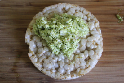 avocado, cream cheese, rice crackers,