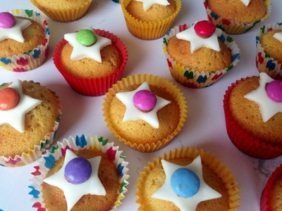 Kids fairy cakes, colourful party food, star party food