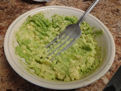 Mash the avocado.