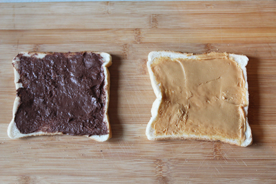 the elvis sandwich, toasted elvis, banana peanut butter and nutella, sweet toasties, chocolate toasties, food for kids