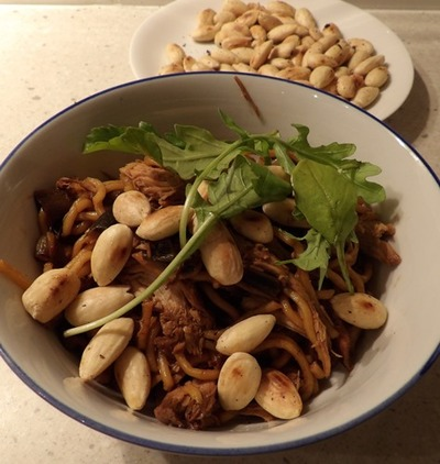 turkey,with,almonds,noodles
